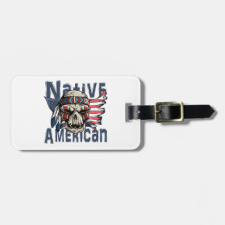 Native American Indian Warrior Skull USA Flag Luggage Tag