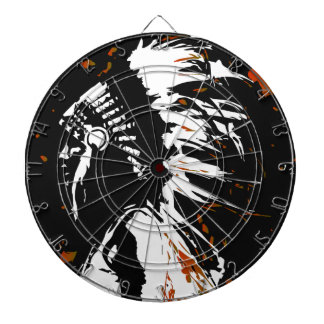 Native American Indian within Flames Dartboard