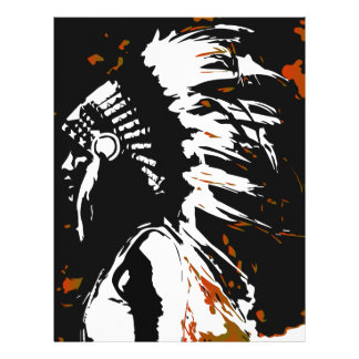 Native American Indian within Flames Letterhead