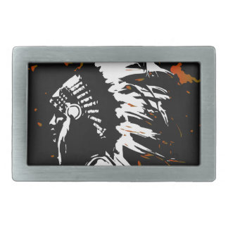 Native American Indian within Flames Rectangular Belt Buckles