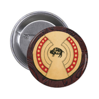 Native American Indiana Buffalo Leather Shield 2 Inch Round Button