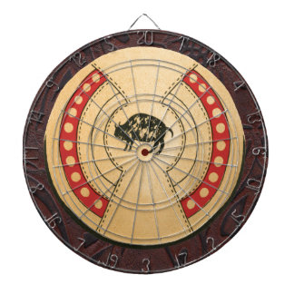 Native American Indiana Buffalo Leather Shield Dartboard With Darts