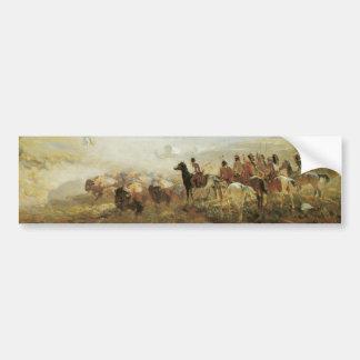 Native American Indians Buffalos Bumper Sticker