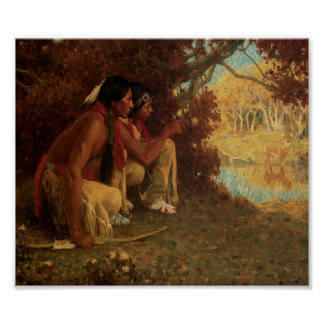 Native American Indians Deer Hunting Art Print Pos