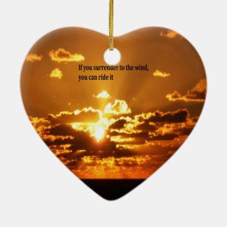 Native American Inspirational quotes Ceramic Heart Ornament