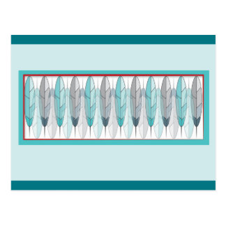 Native American inspired feather design postcards