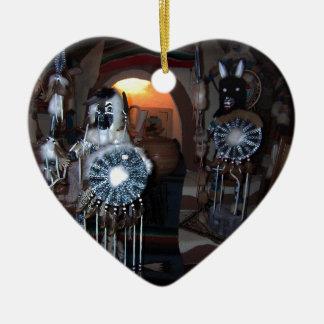 Native American Kachina Dolls Ceramic Heart Ornament