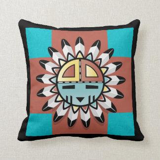 Native American Kachina Sun Shield Pillow