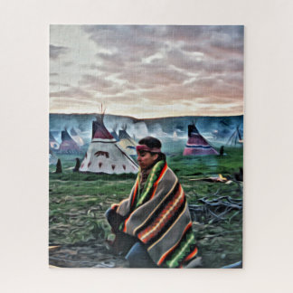 Native American man meditating Jigsaw Puzzle