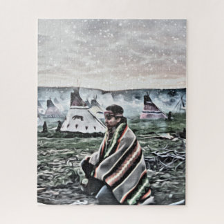 Native American man sitting by the fire Jigsaw Puzzle