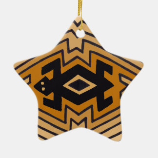 Native American Mimbres Bear Ceramic Star Ornament