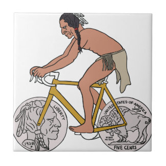 Native American On Bike W/ Buffalo Head Coin Wheel Ceramic Tiles