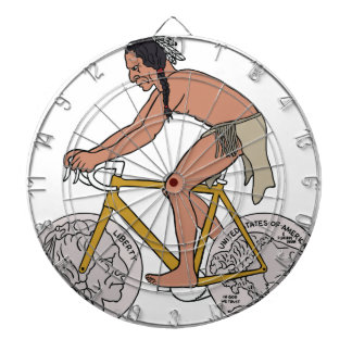 Native American On Bike W/ Buffalo Head Coin Wheel Dartboard With Darts