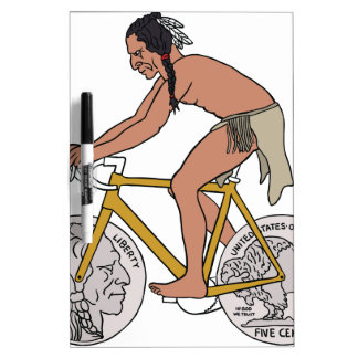 Native American On Bike W/ Buffalo Head Coin Wheel Dry Erase Board