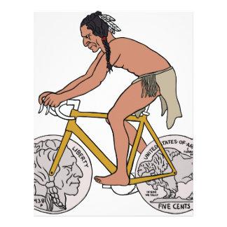 Native American On Bike W/ Buffalo Head Coin Wheel Letterhead
