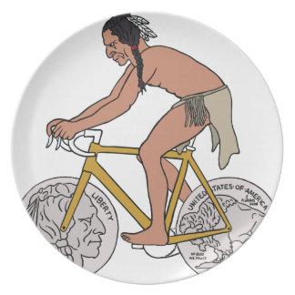 Native American On Bike W/ Buffalo Head Coin Wheel Plate