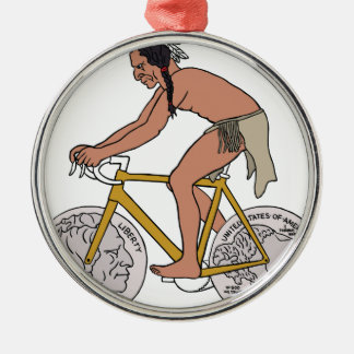 Native American On Bike W/ Buffalo Head Coin Wheel Silver-Colored Round Ornament