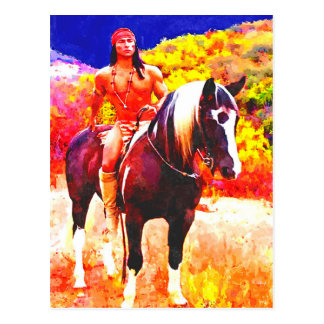 Native American on Horseback♂ Postcard