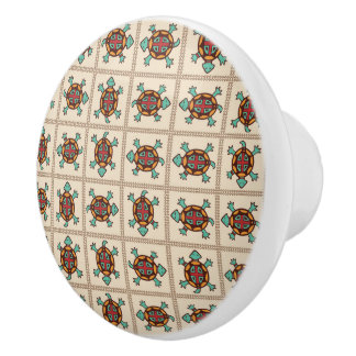 Native american pattern ceramic knob