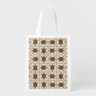 Native american pattern reusable grocery bag