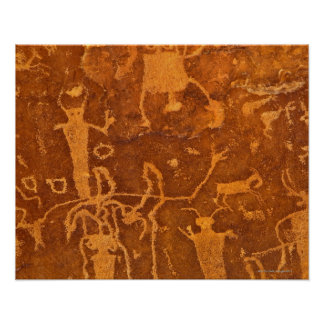 Native American petroglyphs, Rochester Panel, Poster
