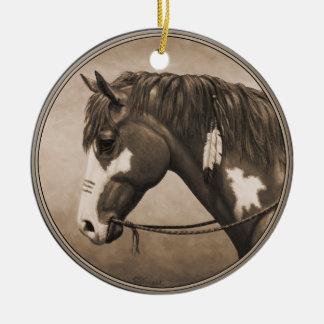 Native American Pinto War Horse in Sepia Round Ceramic Ornament