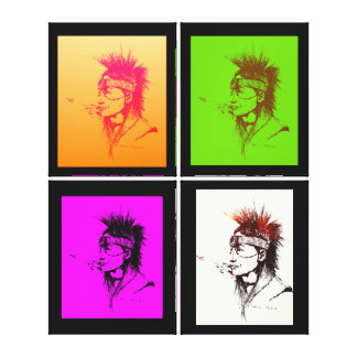 NATIVE AMERICAN - POP-ART 4 PRINT CANVAS GALLERY WRAPPED CANVAS