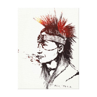 NATIVE AMERICAN - POP-ART CANVAS GALLERY WRAPPED CANVAS