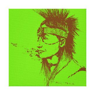 NATIVE AMERICAN POP-ART GREEN GALLERY WRAP CANVAS