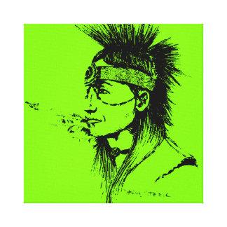NATIVE AMERICAN POP-ART GREEN STRETCHED CANVAS PRINTS