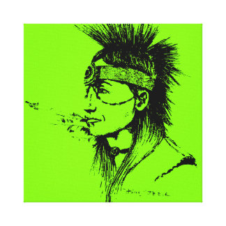 NATIVE AMERICAN POP-ART GREEN STRETCHED CANVAS PRINTS