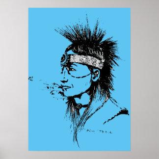 NATIVE AMERICAN - POP-ART POSTER BLUE