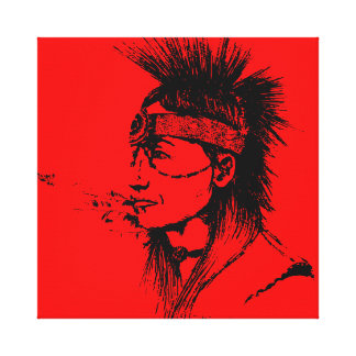NATIVE AMERICAN POP-ART RED STRETCHED CANVAS PRINTS