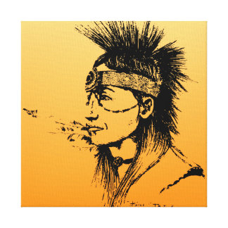 NATIVE AMERICAN POP-ART YELLOW GALLERY WRAPPED CANVAS