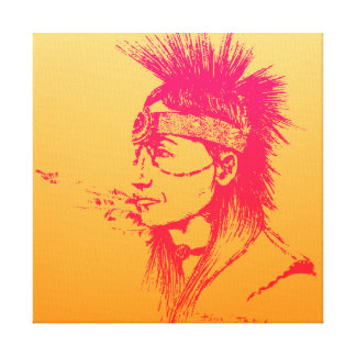 NATIVE AMERICAN POP-ART YELLOW & PINK STRETCHED CANVAS PRINT