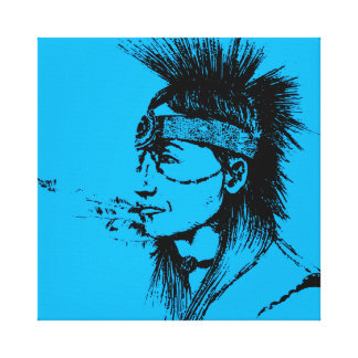 NATIVE AMERICAN - POP-CULTURE BLUE GALLERY WRAP CANVAS