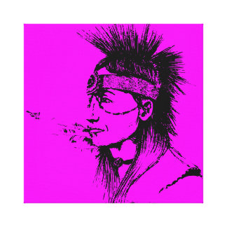 NATIVE AMERICAN - POP-CULTURE PINK GALLERY WRAPPED CANVAS