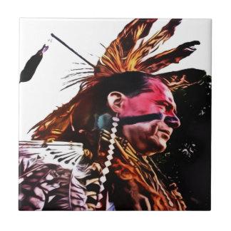 Native American prepares to dance. Ceramic Tile
