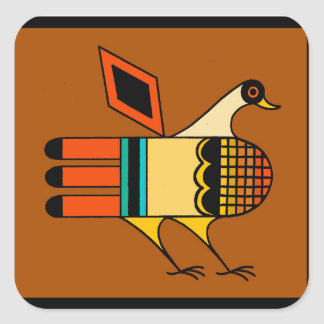 Native American Quail Square Sticker