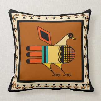 Native American Quail Throw Pillow