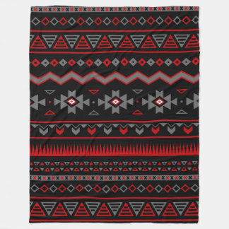 Native American Red Black Gray White Fleece Blanket