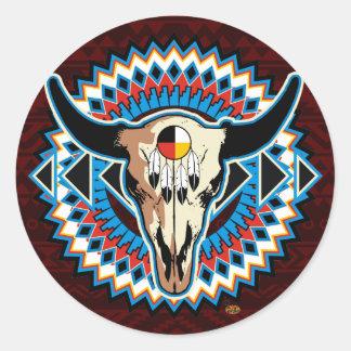 Native American Round skull sticker