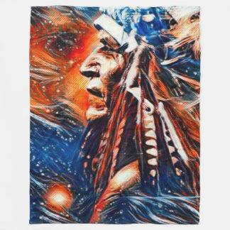 Native American Shaman Spirits Paint Fleece Blanket