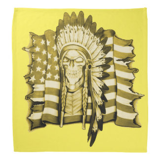 Native American skull and American flag bandana