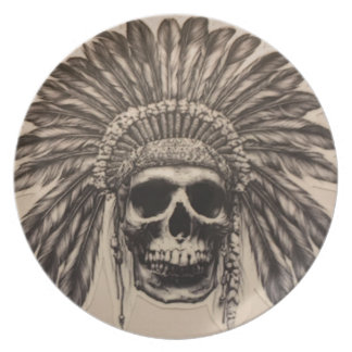 Native American Skull Chief (indian) Plate