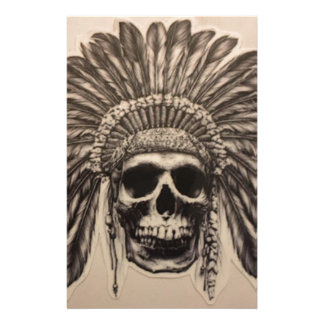 Native American Skull Chief (indian) Stationery