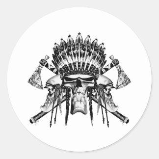Native American Skulls Round Sticker