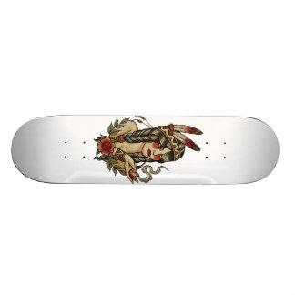 native American squaw smoking a pipe Skate Board
