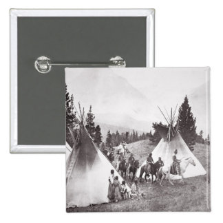 Native American Teepee Camp, Montana, c.1900 (b/w 2 Inch Square Button