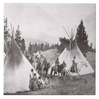 Native American Teepee Camp, Montana, c.1900 (b/w Tile